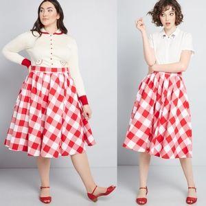 Modcloth Red & White Gingham Swing Skirt NEW